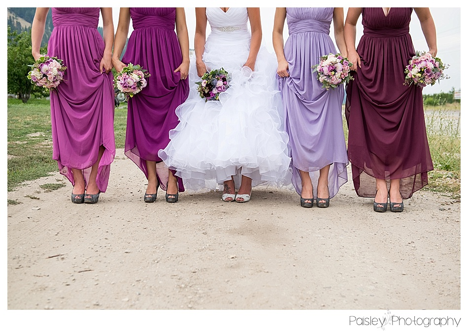 Ombre Bridesmaid Dresses, Full length Purple Bridesmaid Dresses, Kelowna Orchard Wedding Photography, Orchard Wedding Photography, Kelowna Wedding Photography, Kelowna Wedding Photographer, Vernon Wedding, Vernon Wedding Photography