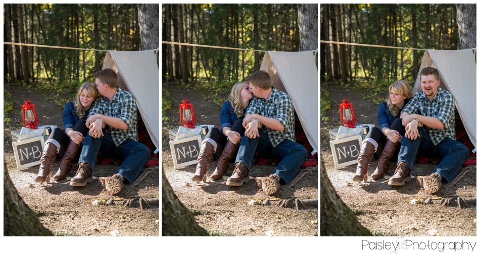 Calgary Camping Themed Engagement Photography