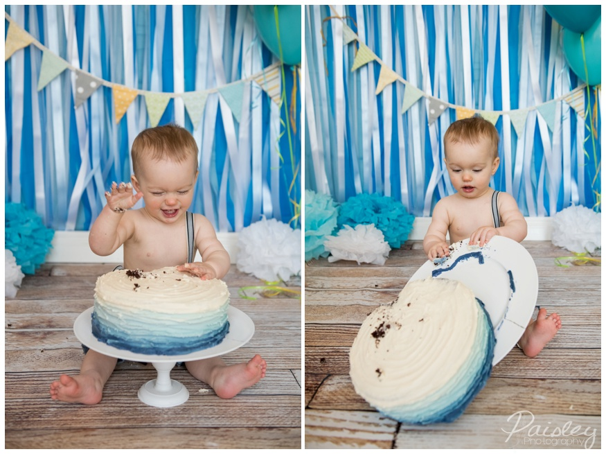 Blue Ombre Cake Smash Photography