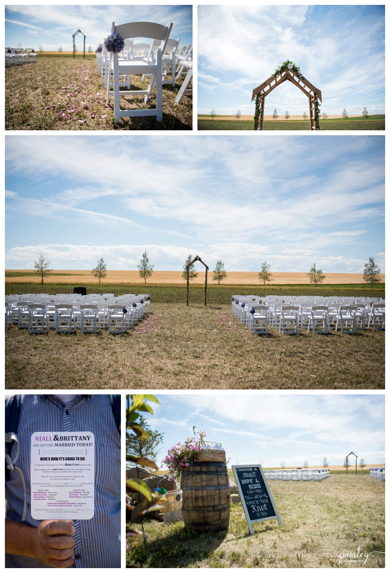 Farm Wedding Ceremony Details, Little Bow Pheasant Ranch Wedding Ceremony