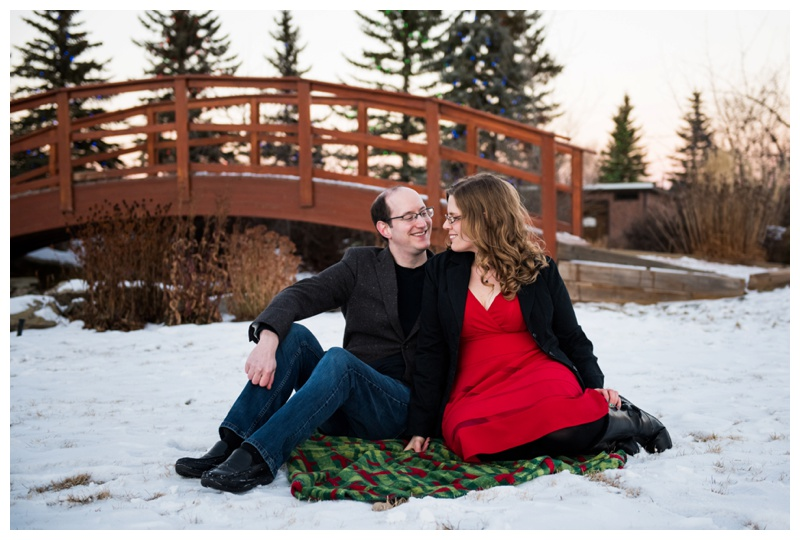Winter Engagement Photos Spruce Meadows