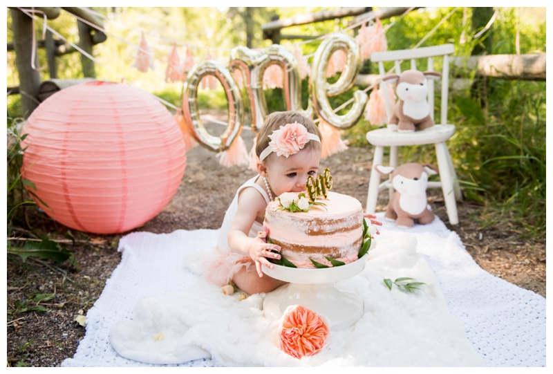 Calgary Coral Outdoor Cake Smash Photography Session
