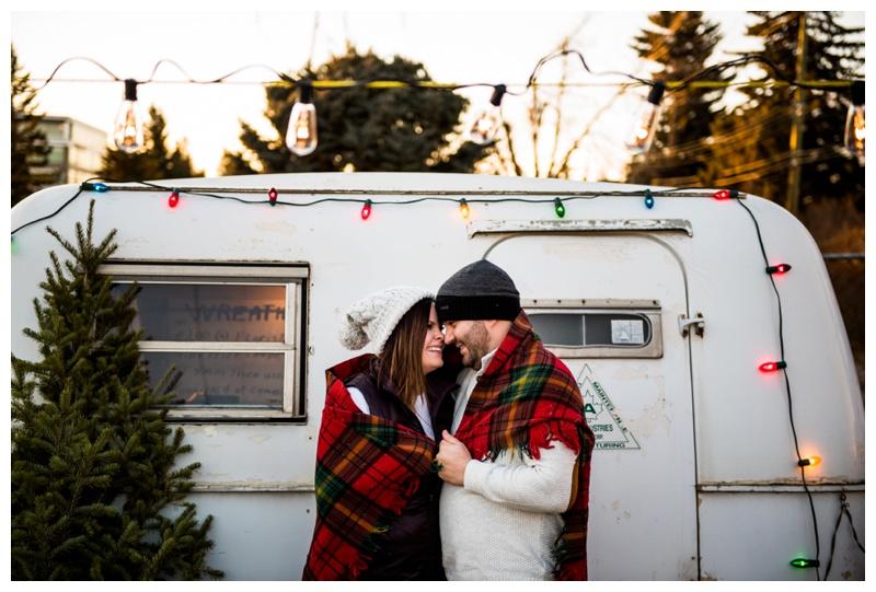 Christmas Tree Lot Engagement Photos - Calgary Alberta