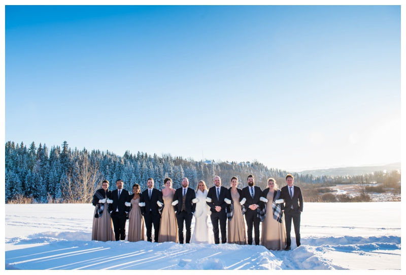 Winter Wedding Party - Cochrane Wedding Photographer