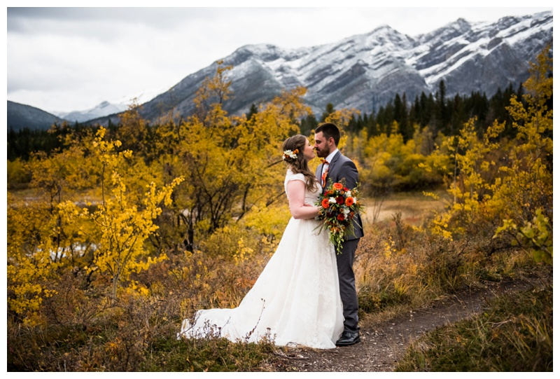 Fall Mountain Wedding - Middle Lake Canmore Alberta