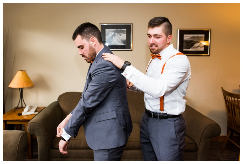 Groom prep Wedding Photography - Canmore Alberta
