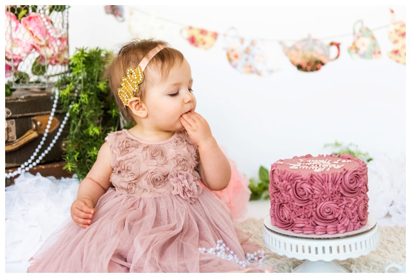 Girlie First Birthday Cake Smash Photographer Calgary
