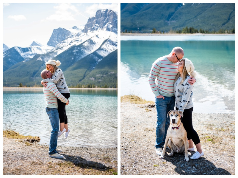 Puppy Friendly Engagement Photo Calgary