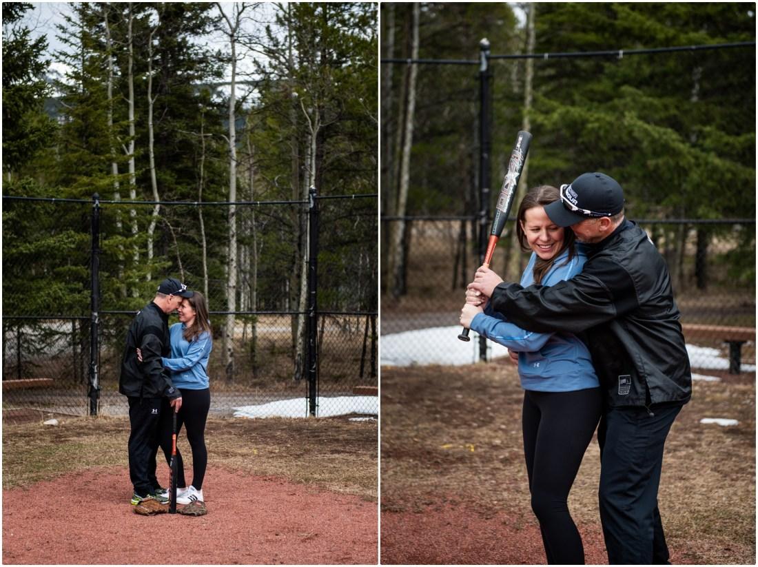 Baseball Engagement Photos Kananaskis