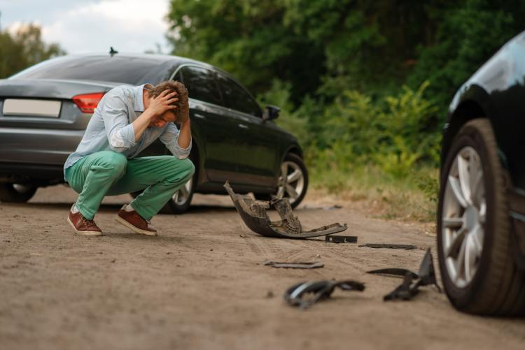 Upset male drivers after car accident on road