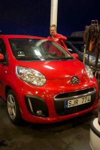 My uncle Per and our car, sigge the Citroën
