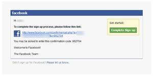 Klik link untuk konfirmasi pendaftaran facebook