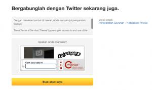 masukan kode captcha ketika mendaftar akun twitter