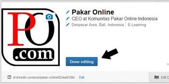 klik Done editing  Cara menambahkan photo untuk profil LinkedIn klik Done editing