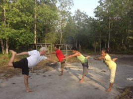Bikram yoga in the jungle