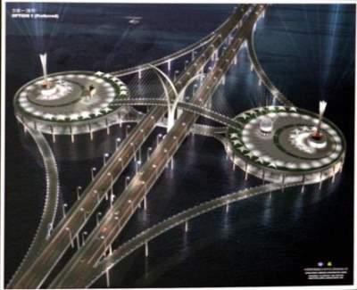 Lakaran artis menunjukkan suasana waktu malam jambatan kedua Pulau Pinang.