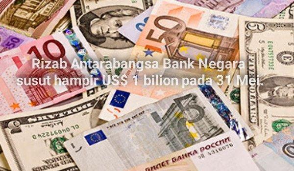 Rizab Antarabangsa Bank Negara susut hampir US$ 1 bilion pada 31 Mei