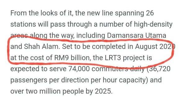Takziah kepada rakyat Malaysia kerana LRT3 akan dilambatkan tempoh siap pada 2023