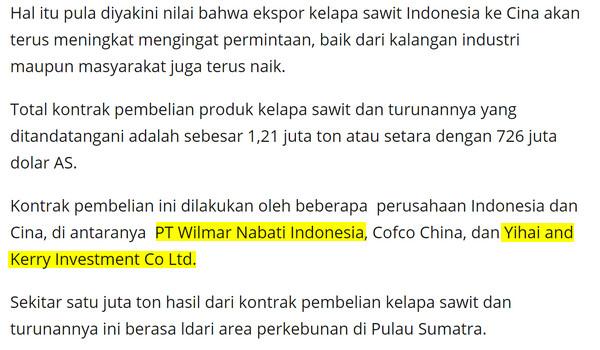 Keluarga Robert Kuok (kroni Mahathir) mendapat laba besar pengeksportan minyak sawit Indonesia ke China - Peneroka Felda dan pekebun kecil tersungkur