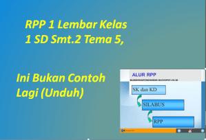 RPP 1 Lembar Kelas 1 SD Smt.2 Tema 5, Ini Bukan Contoh Lagi (Unduh)