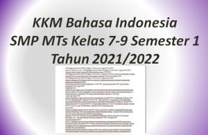 KKM Bahasa Indonesia SMP MTs Kelas 7-9 Semester 1 Tahun 2021/2022