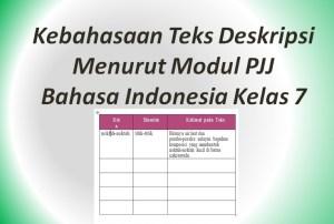 Kebahasaan Teks Deskripsi Menurut Modul PJJ Bahasa Indonesia Kelas 7