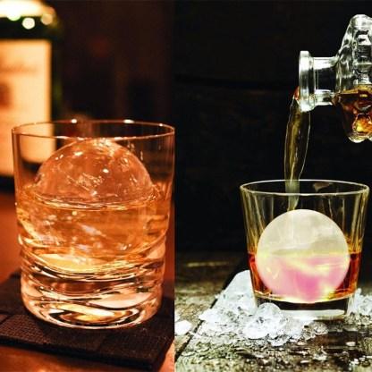 Isboll i whiskeyglas