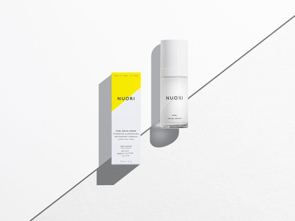 Nuor vital facial cream cosmetic product packaging showcase