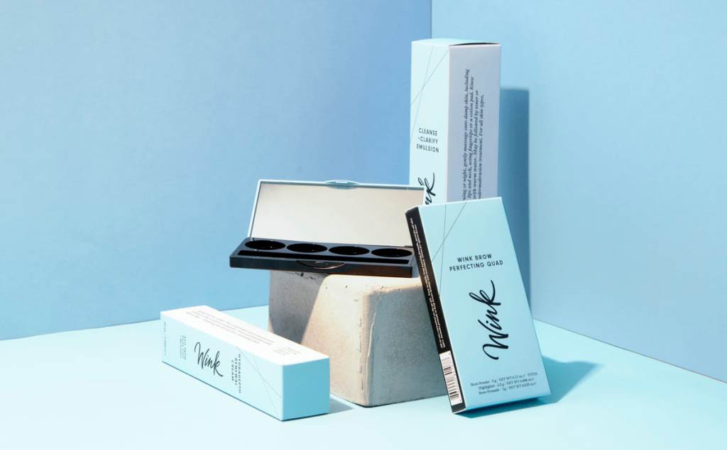 A product showcase of wink brow packaging
