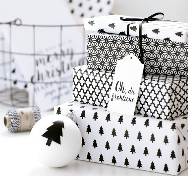 Example of black and white holiday packaging