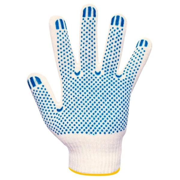 Перчатки вязаные белые, с ПВХ Т/В 4 нити