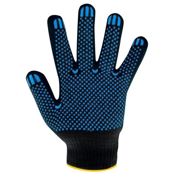 Перчатки черные, с ПВХ Точка/Волна 5 нитей