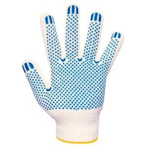 Перчатки вязаные белые, с ПВХ T/В 6 нити