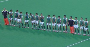 The Pakistani field hockey team at the 2008 Summer Olympics just before the match against Australia in the group states. From the left: Salman Akbar, Syed Abbas Haider Bilgrami, Muhammad Saqlain, Syed Imrab Ali Warsi, Muhammad Zubair, Muhammad Imran, Shakeel Abbasi, Muhammad Asif Rana, Shafqat Rasool, Waqas Akbar, Muhammad Javed, Muhammad Waqas, Nasir Ahmed, Adnan Maqsood, Rehan Butt, Zeeshan Ashraf