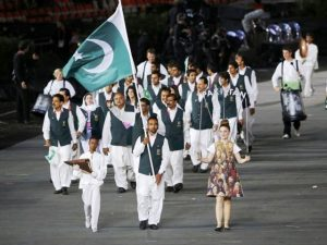 Pakistan hockey team during the opening ceremony of the 2012 London Olympic Games.