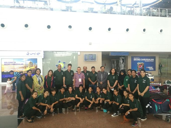 Pakistan Women Hockey Team at Brunei Airport. Received by Officials