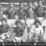 (1982) Pakistan team with the World Cup trophy in Bombay.