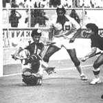 Hassan Sardar breaks through Indian defense during the Hockey final of 1982 Asian Games in New Delhi.