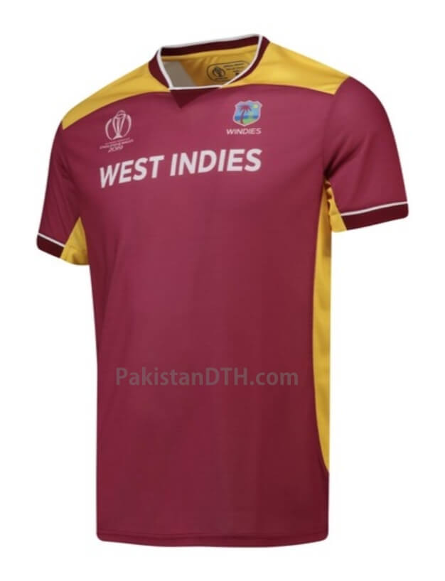 087a7437caf The West Indies Jersy for the Worldcup 2019 has the Dark green color all  over and with Golden bar on shoulders and sides of the kit.