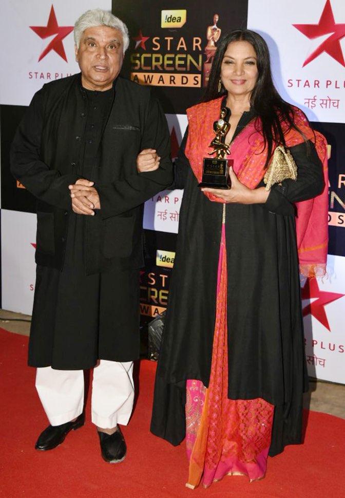 Javed Akhtar and Shabana Azmi at the star screen awards