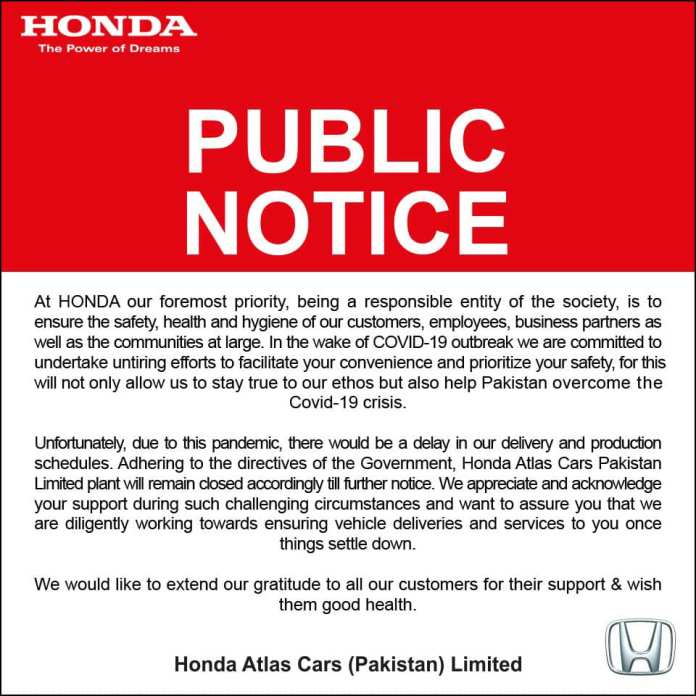 Atlas Honda Shutting Down its manufacturing plant