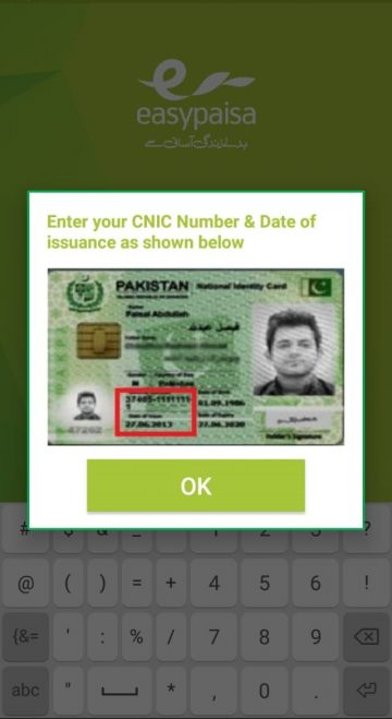 CNIC number on easypaisa telenor