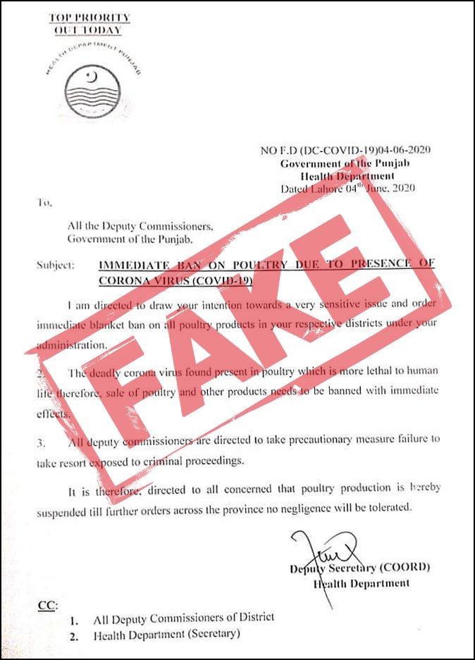 fake news of chicken banned due to coronavirus