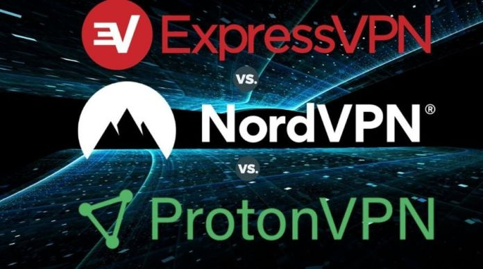 NordVPN, ExpressVPN, and ProtonVPN VPN