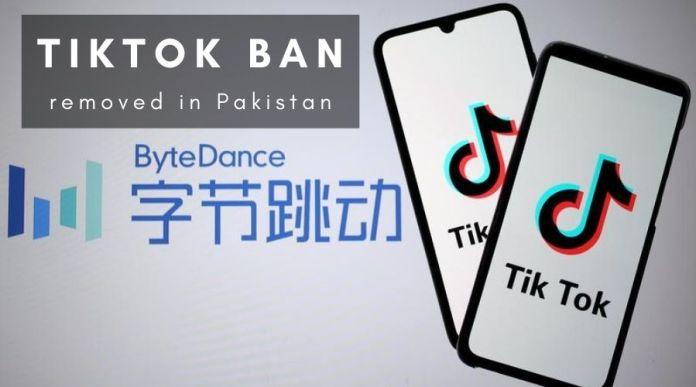 tiktok ban removed in pakistan