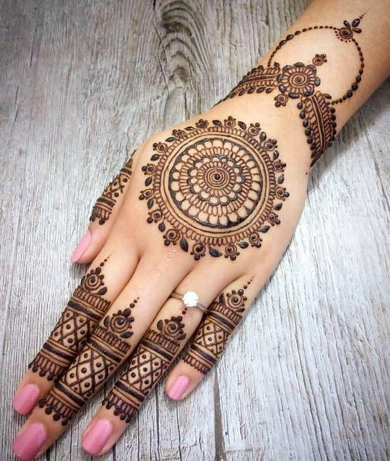 Elegant Backhand Mehandi Design for Wedding