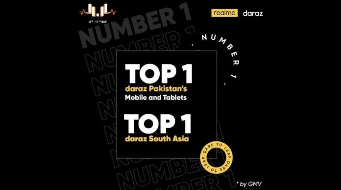 Realme Pakistan ranked Top 1 Smartphone Brand by GMV for Daraz 11.11 Sale