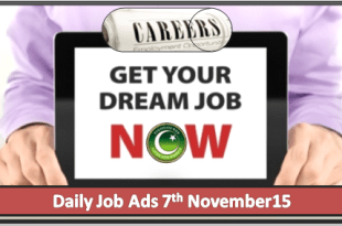 Daily Job Ads 7th November 2015