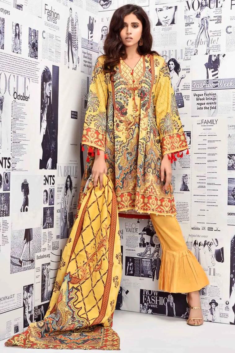 Warda Winter Collection Yellow Unstitched Khaddar Pakistani Suit