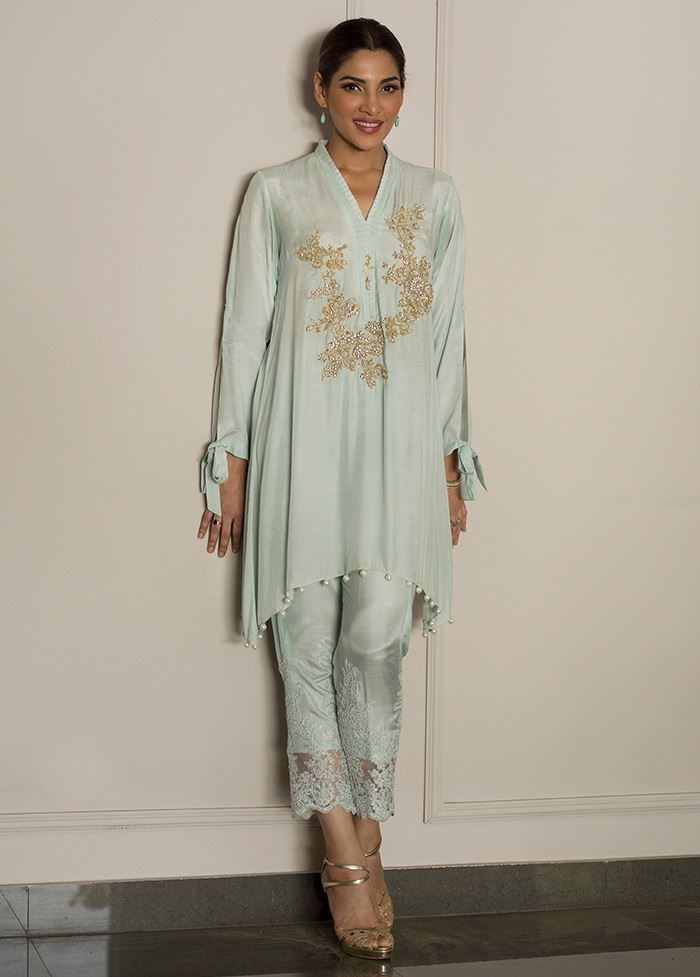 Ice Flow Green Embroidered Stitched Pret Dress By Deepak Perwani